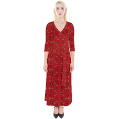 Brown Circle Pattern On Red Quarter Sleeve Wrap Maxi Dress