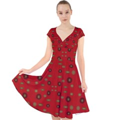 Brown Circle Pattern On Red Cap Sleeve Front Wrap Midi Dress