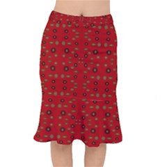 Brown Circle Pattern On Red Mermaid Skirt