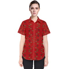 Brown Circle Pattern On Red Women s Short Sleeve Shirt