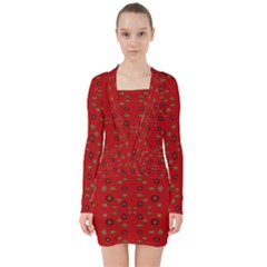 Brown Circle Pattern On Red V Neck Bodycon Long Sleeve Dress