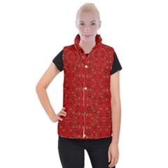 Brown Circle Pattern On Red Women s Button Up Puffer Vest