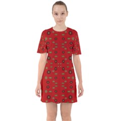 Brown Circle Pattern On Red Sixties Short Sleeve Mini Dress
