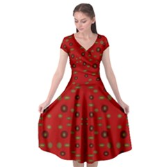 Brown Circle Pattern On Red Cap Sleeve Wrap Front Dress