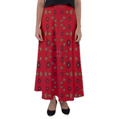 Brown Circle Pattern On Red Flared Maxi Skirt