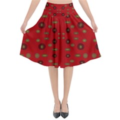 Brown Circle Pattern On Red Flared Midi Skirt