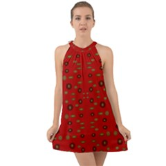 Brown Circle Pattern On Red Halter Tie Back Chiffon Dress