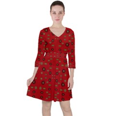 Brown Circle Pattern On Red Ruffle Dress