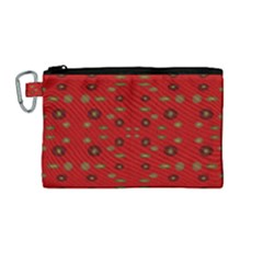 Brown Circle Pattern On Red Canvas Cosmetic Bag (medium)