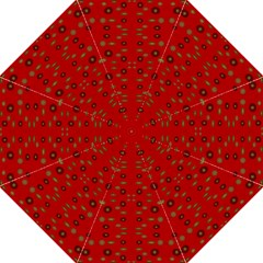 Brown Circle Pattern On Red Straight Umbrellas