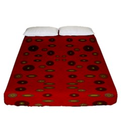 Brown Circle Pattern On Red Fitted Sheet (queen Size)
