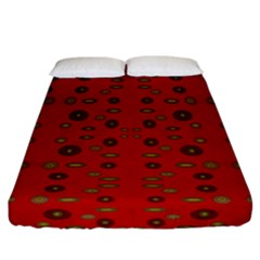Brown Circle Pattern On Red Fitted Sheet (california King Size)