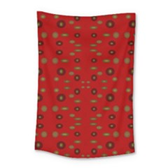 Brown Circle Pattern On Red Small Tapestry