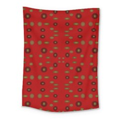 Brown Circle Pattern On Red Medium Tapestry