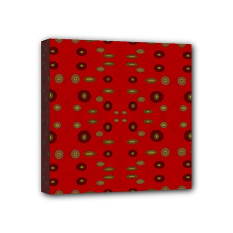 Brown Circle Pattern On Red Mini Canvas 4  X 4