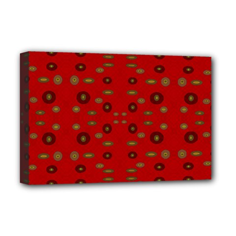 Brown Circle Pattern On Red Deluxe Canvas 18  X 12