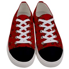 Brown Circle Pattern On Red Women s Low Top Canvas Sneakers