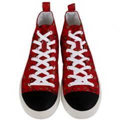 Brown Circle Pattern On Red Men s Mid Top Canvas Sneakers