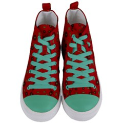Brown Circle Pattern On Red Women s Mid Top Canvas Sneakers