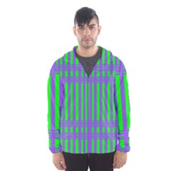 Bright Green Purple Stripes Pattern Hooded Wind Breaker (men)