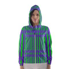 Bright Green Purple Stripes Pattern Hooded Wind Breaker (women)