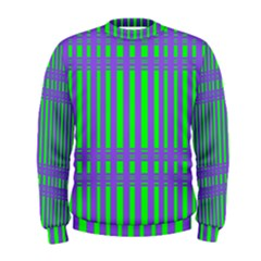 Bright Green Purple Stripes Pattern Men s Sweatshirt