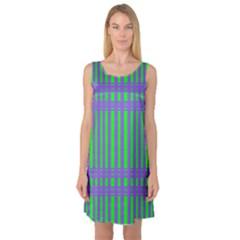 Bright Green Purple Stripes Pattern Sleeveless Satin Nightdress