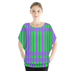 Bright Green Purple Stripes Pattern Blouse