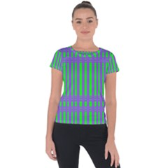 Bright Green Purple Stripes Pattern Short Sleeve Sports Top