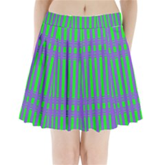 Bright Green Purple Stripes Pattern Pleated Mini Skirt