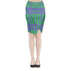Bright Green Purple Stripes Pattern Midi Wrap Pencil Skirt