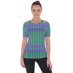 Bright Green Purple Stripes Pattern Short Sleeve Top