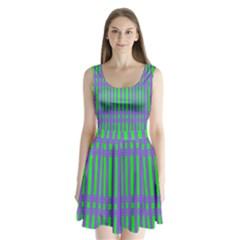 Bright Green Purple Stripes Pattern Split Back Mini Dress