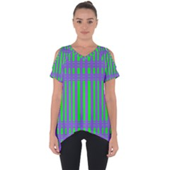 Bright Green Purple Stripes Pattern Cut Out Side Drop Tee