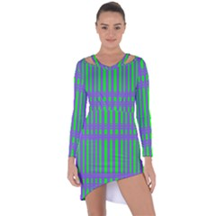 Bright Green Purple Stripes Pattern Asymmetric Cut Out Shift Dress