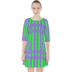 Bright Green Purple Stripes Pattern Pocket Dress