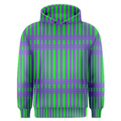 Bright Green Purple Stripes Pattern Men s Overhead Hoodie