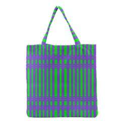 Bright Green Purple Stripes Pattern Grocery Tote Bag
