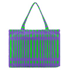 Bright Green Purple Stripes Pattern Zipper Medium Tote Bag