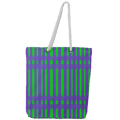 Bright Green Purple Stripes Pattern Full Print Rope Handle Tote (large)
