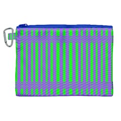 Bright Green Purple Stripes Pattern Canvas Cosmetic Bag (xl)