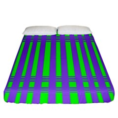 Bright Green Purple Stripes Pattern Fitted Sheet (king Size)