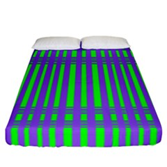 Bright Green Purple Stripes Pattern Fitted Sheet (california King Size)