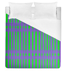 Bright Green Purple Stripes Pattern Duvet Cover (queen Size)
