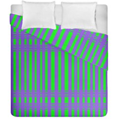 Bright Green Purple Stripes Pattern Duvet Cover Double Side (california King Size)