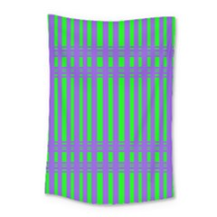 Bright Green Purple Stripes Pattern Small Tapestry