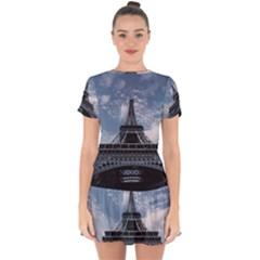Eiffel Tower France Landmark Drop Hem Mini Chiffon Dress