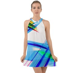 Lines Vibrations Wave Pattern Halter Tie Back Chiffon Dress