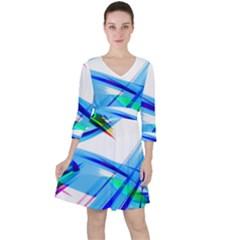 Lines Vibrations Wave Pattern Ruffle Dress