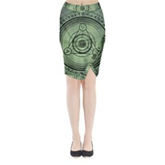 Rune Geometry Sacred Mystic Midi Wrap Pencil Skirt